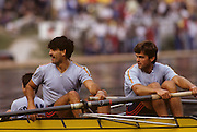 Bled, Slovenia, YUGOSLAVIA. ROM M2+, Bow, Dragos NEAGU and Ioan<br /> SNEP, cox, Marin<br /> GHEORGHE,1989 World Rowing Championships, Lake Bled. [Mandatory Credit. Peter Spurrier/Intersport Images]