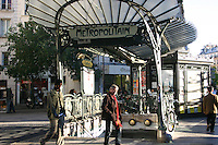 Decorative entrance to Metro station, Paris, France<br />