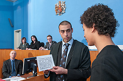 A witness swearing the oath in Sheffield Magistrates' court