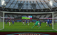 Football - 2020 / 2021 Premier League - West Ham United vs Brighton & Hove Albion - London Stadium<br /> <br /> Brighton & Hove Albion's Lewis Dunk (right) scores his side's second goal.<br /> <br /> COLORSPORT/ASHLEY WESTERN