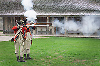 Musket firing demonstration. Colonial Michilimackinac, Mackinaw City Michigan.