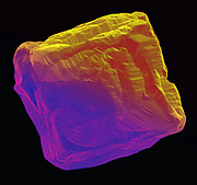 False color scanning electron microscope image of an uncut synthetic diamond. Diamond is one of the crystal forms of pure carbon and is element 6 on the periodic table. Diamond is the hardest material known to science. This specimen is .5 mm in width.