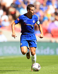 """Chelsea's Cesar Azpilicueta during the Community Shield match at Wembley Stadium, London. PRESS ASSOCIATION Photo. Picture date: Sunday August 5, 2018. See PA story SOCCER Community Shield. Photo credit should read: Adam Davy/PA Wire. RESTRICTIONS: EDITORIAL USE ONLY No use with unauthorised audio, video, data, fixture lists, club/league logos or """"live"""" services. Online in-match use limited to 75 images, no video emulation. No use in betting, games or single club/league/player publications."""