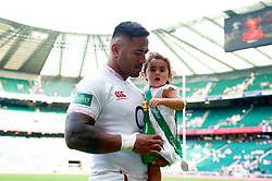 Manu Tuilagi of England with his daughter after the match - Mandatory byline: Patrick Khachfe/JMP - 07966 386802 - 24/08/2019 - RUGBY UNION - Twickenham Stadium - London, England - England v Ireland - Quilter International