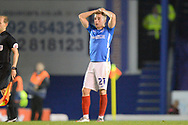 Joe Morrell (21) of Portsmouth looks dejected at full time during the EFL Sky Bet League 1 match between Portsmouth and Ipswich Town at Fratton Park, Portsmouth, England on 19 October 2021.