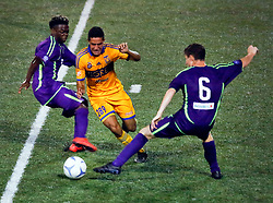 12 July 2016. New Orleans, Louisiana.<br /> NPSL Soccer, Pan American Stadium.<br /> New Orleans Jesters v UANL Tigres from Monterrey, Mexico. <br /> Jesters draw 1-1 at full time, going on to lose the penalty shoot out.<br /> Photo; Charlie Varley/varleypix.com
