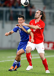 10.08.2011, W?rthersee-Arena, Klagenfurt, AUT, FSP, Oesterreich vs Slowakei, im Bild Marek Hamsik SVK und Christian Fuchs AUT // during the International Friendly Game, Austria vs Slovakia, in the W?rthersee Arena, Klagenfurt, 2011-08-10 , EXPA Pictures © 2011, PhotoCredit: EXPA/ O. Hoeher
