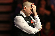 Joe Perry (Eng) reacts after missing a pot. Ronnie O'Sullivan (Eng) v Joe Perry (Eng), the Masters Final at the Dafabet Masters Snooker 2017, at Alexandra Palace in London on Sunday 22nd January 2017.<br /> pic by John Patrick Fletcher, Andrew Orchard sports photography.