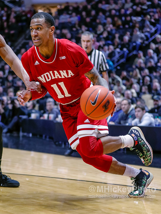 WEST LAFAYETTE, IN - JANUARY 19: Devonte Green #11 of the Indiana Hoosiers drives to the basket during the game against the Purdue Boilermakers at Mackey Arena on January 19, 2019 in West Lafayette, Indiana. (Photo by Michael Hickey/Getty Images) *** Local Caption *** Devonte Green