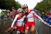 Mcc0055084 . Daily Telegraph<br /> <br /> left to right England's Emma Pooley and Lizzie Armitstead on after winning Bronze and Gold in the Women's Road Race in Day 11 of the 2014 Commonwealth Games in Glasgow .<br /> <br /> <br /> Glasgow 3 August 2014