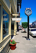 Victorian buildings and clock on Main Street, Ferndale, California.
