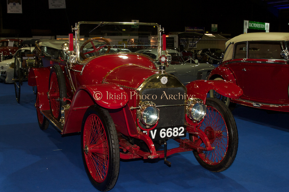 RIAC Classic Car Show 2013, RDS, 1911 Benz 8/18. The Benz two litre Sports Torpedo 8/18 Runabout was produced at the Benz Manheim factory in Germany between 1911 and 1912. This particular car is extremely rare and possibly now of only two known to exist. Irish, Photo, Archive.