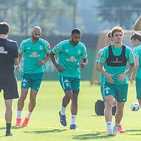 15.09.2020, Trainingsgelaende am wohninvest WESERSTADION - Platz 12, Bremen, GER, 1.FBL, Werder Bremen Training<br /> <br /> Aufwaermtraining<br /> Ömer / Oemer Toprak (Werder Bremen #21)<br /> Jean Manuel Mbom (Werder Bremen 34)3<br /> Joshua Sargent (Werder Bremen #19)<br /> <br /> <br /> <br /> Foto © nordphoto / Kokenge