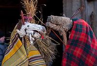 17.02.2015 Radzilow woj podlaskie Ostatni dzien karnawalu , czyli Zapusty . Przez wies przechodzi barwny korowod przebierancow z kuklami na kole ciagnietym przez konia oraz z mloda para Izabela i Janem . Jest to historia hulaszczego malzenstwa, ktore w karnawale roztrwonilo majatek i stanowi przestroge, aby podczas Wielkiego Postu wrocic po rozum do glowy fot Michal Kosc / AGENCJA WSCHOD