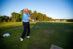 North Carolina head basketball coach Roy Williams on the driving range prior to the Chick-fil-A Peach Bowl Challenge at the Ritz Carlton Reynolds, Lake Oconee, on Monday, April 30, 2019, in Greensboro, GA. (Paul Abell via Abell Images for Chick-fil-A Peach Bowl Challenge)