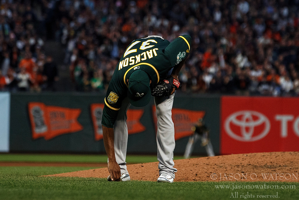 SAN FRANCISCO, CA - JULY 13: Edwin Jackson #37 of the Oakland Athletics reacts after allowing a run on a balk during the fourth inning against the San Francisco Giants at AT&T Park on July 13, 2018 in San Francisco, California. The San Francisco Giants defeated the Oakland Athletics 7-1. (Photo by Jason O. Watson/Getty Images) *** Local Caption *** Edwin Jackson