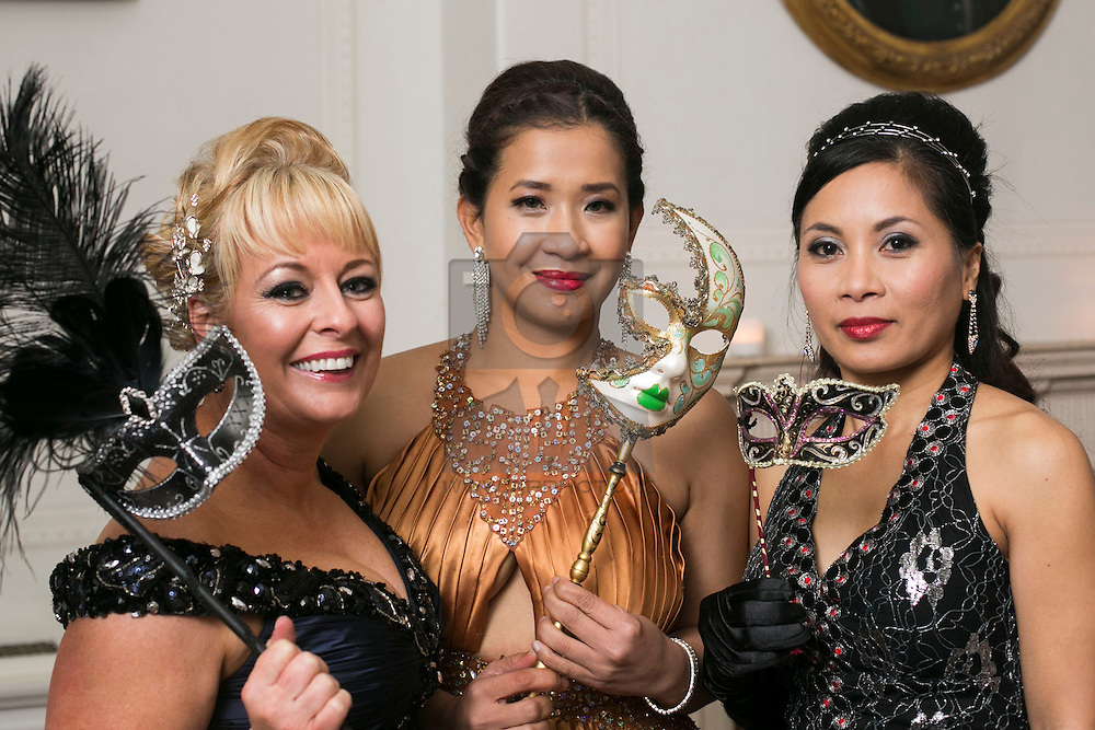 01 November 2013 Sharon French, Rhoda Escalada and Madeline Orbeta pictured at the Irish Cancer Society Masquerade Ball in the Shelbourne Hotel. For more information or to support the Irish Cancer Society please visit www.cancer.ie . Picture Andres Poveda