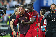 Portugal Forward Cristiano Ronaldo and Portugal Forward Eder punch the air and celebrate to the cameras during the Euro 2016 final between Portugal and France at Stade de France, Saint-Denis, Paris, France on 10 July 2016. Photo by Phil Duncan.