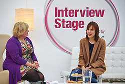 © Licensed to London News Pictures.  15/11/2013. LONDON, UK. Great British Bake Off winner Francis Quinn (R) is interviewed at the BBC Good Food Show held in Olympia Exhibition Hall. The event opens today and runs until Sunday 17 November. Photo credit: Cliff Hide/LNP