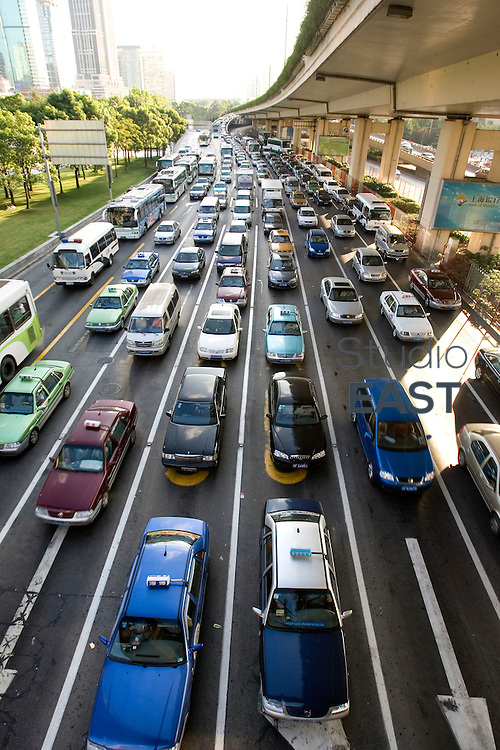 SHANGHAI, CHINA - August 24: Cars are blocked in a traffic jam on People's square on August 24, 2007 in Shanghai, China. (Photo by Lucas Schifres/Getty Images)