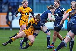 Claudia MacDonald of Wasps Ladies tackles Daisy Hibbert-Jones of Sale Sharks Women  - Mandatory by-line: Nick Browning/JMP - 12/12/2020 - RUGBY - CorpAcq Stadium  - Sale, England - Sale Sharks Women v Wasps FC Ladies - Allianz Premier 15s