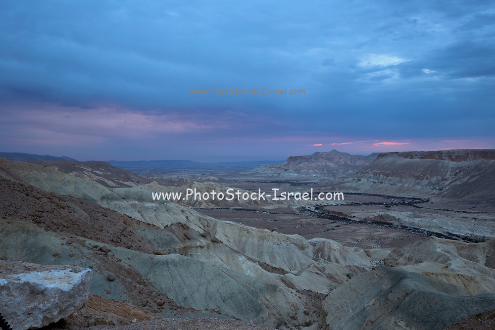 looking out towards Ein Ovdat and the Wadi Zin valley, Negev Desert, Israel at dusk