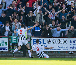 Dunfermline's Shaun Byrne (8) cele scoring their fourth goal. <br /> Dunfermline 5 v 1 Cowdenbeath, Scottish League Cup game played today at East End Park.