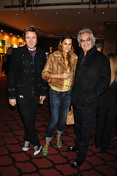 Left to right, SIMON & YASMIN LE BON and FLAVIO BRIATORE at a party to celebrate the first year if ING's sponsorship of the Renault Formula 1 team, held at the Mayfair Hotel, Stratton Street, London W1 on 28th November 2007.<br />
