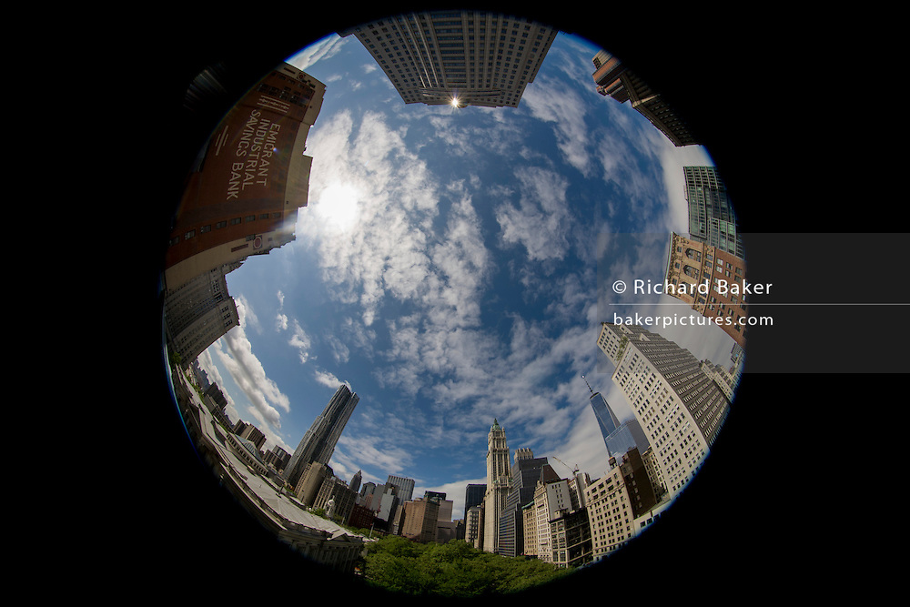 180 degree distorted fish-eye lens cityscape on Broadway, Lower Manhattan, New York City.