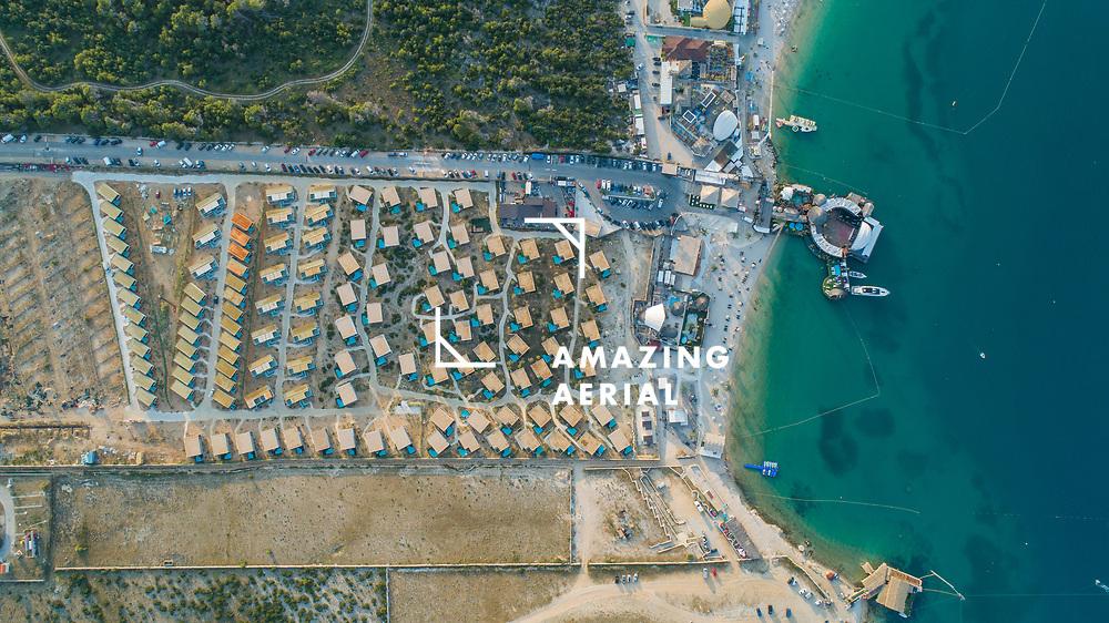 Aerial view of Gajac township along the beautiful Croatian coastline, Lika-Senj, Croatia.