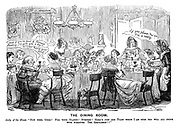 """The Ladies of the Creation; Or, how I was cured of being a strong-minded woman. The Dining Room. Lady of the house. """"Now then, girls! Fill your glasses! Bumpers! Here's just one toast which I am sure you will all drink with pleasure. The gentlemen!!"""""""