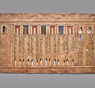 Ancient Egyptian Book of the Dead papyrus - From  tomb of Kha, Theban Tomb 8 , mid-18th dynasty (1550 to 1292 BC), Turin Egyptian Museum.  Grey background .<br /> <br /> If you prefer to buy from our ALAMY PHOTO LIBRARY  Collection visit : https://www.alamy.com/portfolio/paul-williams-funkystock/ancient-egyptian-art-artefacts.html  . Type -   Turin   - into the LOWER SEARCH WITHIN GALLERY box. Refine search by adding background colour, subject etc<br /> <br /> Visit our ANCIENT WORLD PHOTO COLLECTIONS for more photos to download or buy as wall art prints https://funkystock.photoshelter.com/gallery-collection/Ancient-World-Art-Antiquities-Historic-Sites-Pictures-Images-of/C00006u26yqSkDOM