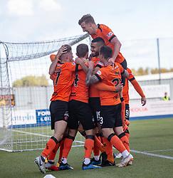 Dundee United's Pavol Safranko (14) cele scoring their first goal. Falkirk 0 v 2 Dundee United, Scottish Championship game played 22/9/2018 at The Falkirk Stadium.
