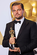 "88th Academy Awards press room.<br /> Actor in a leading role winner Leonardo DiCaprio for the film ""The Revenant."""