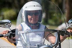 89 year old Gloria Struck riding her Harley-Davidson Softail in Tamoka State Park after riding down from New Jersey just to see friends at the start of the Motorcycle Cannonball Cross-Country Endurance Run. Daytona Beach, FL, USA. September 4, 2014.  Photography ©2014 Michael Lichter.