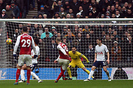 Jack Wilshere of Arsenal (c) takes a shot wide of goal. Premier league match, Tottenham Hotspur v Arsenal at Wembley Stadium in London on Saturday 10th February 2018.<br /> pic by Steffan Bowen, Andrew Orchard sports photography.