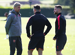 September 13, 2017 - London, England, United Kingdom - Arsenal manager Arsene Wenger  having words with .Arsenal's Sead Kolasinac and Arsenal's Shkodran Mustafi.during a Arsenal training session ahead of the UEFA Europa League Group H match against 1. FC Kln at Arsenal training centre , London Colney on 13 Sep  2017 St.Albans, England  (Credit Image: © Kieran Galvin/NurPhoto via ZUMA Press)