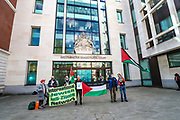 London, United Kingdom, May 27, 2021: People waving Palestinian flags and anti-Israeli placards appeared outside Westminster Magistrates Court as the members of the Palestine Action activist group attended a trial on Thursday, May 27, 2021. (Photo by Vudi Xhymshiti)