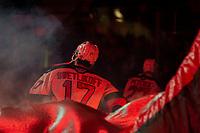 KELOWNA, BC - JANUARY 24: Alex Swetlikoff #17 of the Kelowna Rockets enters the ice against the Seattle Thunderbirds at Prospera Place on January 24, 2020 in Kelowna, Canada. (Photo by Marissa Baecker/Shoot the Breeze)