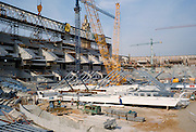 Construction of Olympic stadium in progress in 1988 for Barcelona Olympics in 1992, Spain