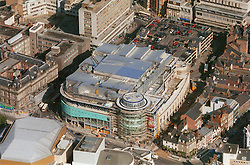 Aerial view of Corner House cinema and shopping complex in Nottingham on site of former Evening Post building,