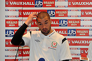 Wales goalkeeper Boaz Myhill. Wales football players media session at St.Davids Hotel in Cardiff on Tuesday 4th Sept 2012, the Welsh players talk about their forthcoming World cup qualifier against Belgium on Friday 8th Sept.  pic by  Andrew Orchard, Andrew Orchard sports photography,