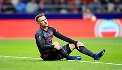 Arsenal's Aaron Ramsey on the ground during the UEFA Europa League, Semi Final, Second Leg at Wanda Metropolitano, Madrid.
