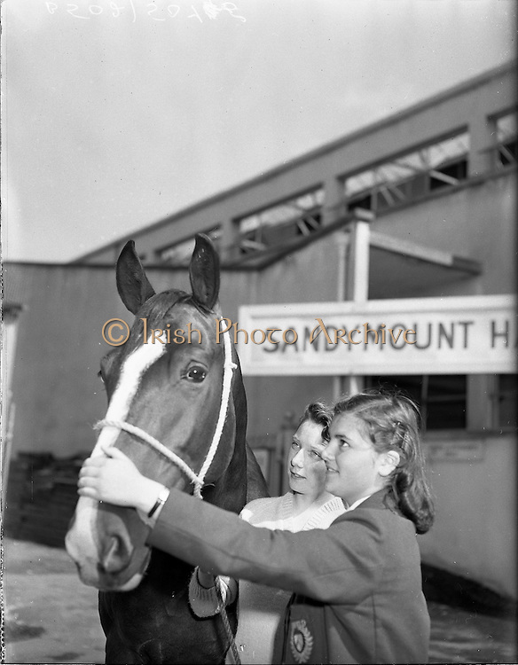 """01/08/1960<br /> 05/08/1960<br /> 01 August 1960<br /> R.D.S Horse Show Dublin (Monday). Roberta Porte (left) and Edwina McAvoy, both of Belfast with """"Sandy Rock"""" owned by Edward McLearnon of Lurgen at the Dublin Horse Show."""