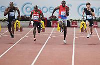 "Asafa Powell Jamaica, Kim Collins  Saint Kitts and Nevis, Usain Bolt Jamaica, Christophe Lemaitre France men's 100m <br /> Roma 31/5/2012 Stadio ""Olimpico""<br /> Atletica Compeed Golden Gala 2012<br /> Track and Fields<br /> Foto Andrea Staccioli Insidefoto"
