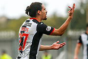 Ryan Edwards of St Mirren complains to the referee for bringing back play for the 3rd time during the Ladbrokes Scottish Premiership match between St Mirren and Hibernian at the Simple Digital Arena, Paisley, Scotland on 29th September 2018.