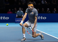Tennis - 2019 Nitto ATP Finals at The O2 - Day One<br /> <br /> Singles Group Bjorn Borg: Roger Federer (Switzerland) vs. Dominic Thiem (Austria)<br /> <br /> Dominic Thiem (Austria) on his way to beating Roger Federer (Switzerland) in two sets <br /> <br /> COLORSPORT/DANIEL BEARHAM