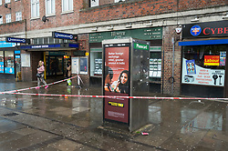 © Licensed to London News Pictures. 02/05/2018. London, UK. A police cordon is placed outside Queensbury Tube station after a man has died and another injured from gunshot wounds. The man died at the scene almost an hour after officers were called to Cumberland Road just after 9pm on Tuesday. Photo credit: Ray Tang/LNP