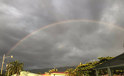 """Maria Shriver releases a photo on Twitter with the following caption: """"""""This is good luck! 🌈 🌈 <br /> Watch and make a wish! A new week is starting and it's going to be good. <br /> Count on it! ❤️<br /> #rainbow #losangeles https://t.co/DjYoRNWcln"""""""". Photo Credit: Twitter *** No USA Distribution *** For Editorial Use Only *** Not to be Published in Books or Photo Books ***  Please note: Fees charged by the agency are for the agency's services only, and do not, nor are they intended to, convey to the user any ownership of Copyright or License in the material. The agency does not claim any ownership including but not limited to Copyright or License in the attached material. By publishing this material you expressly agree to indemnify and to hold the agency and its directors, shareholders and employees harmless from any loss, claims, damages, demands, expenses (including legal fees), or any causes of action or allegation against the agency arising out of or connected in any way with publication of the material."""