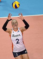 04-01-2016 TUR: European Olympic Qualification Tournament Nederland - Duitsland, Ankara <br /> De Nederlandse volleybalvrouwen hebben de eerste wedstrijd van het olympisch kwalificatietoernooi in Ankara niet kunnen winnen. Duitsland was met 3-2 te sterk (28-26, 22-25, 22-25, 25-20, 11-15) / Femke Stoltenborg #2